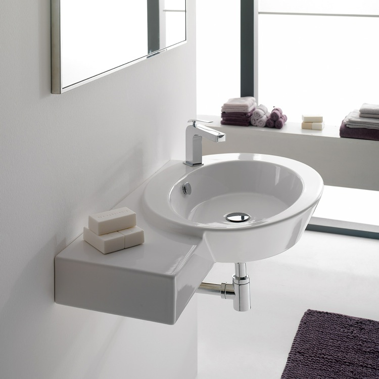 White Ceramic Wall Mounted Sink With Left Counter Space