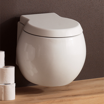Toilet, Scarabeo 8105, Contemporary White Ceramic Wall Hung Toilet
