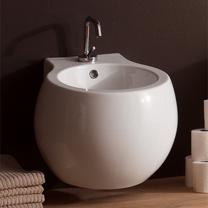 Bidet, Scarabeo 8106, Stylish Round Ceramic Wall Mounted Bidet