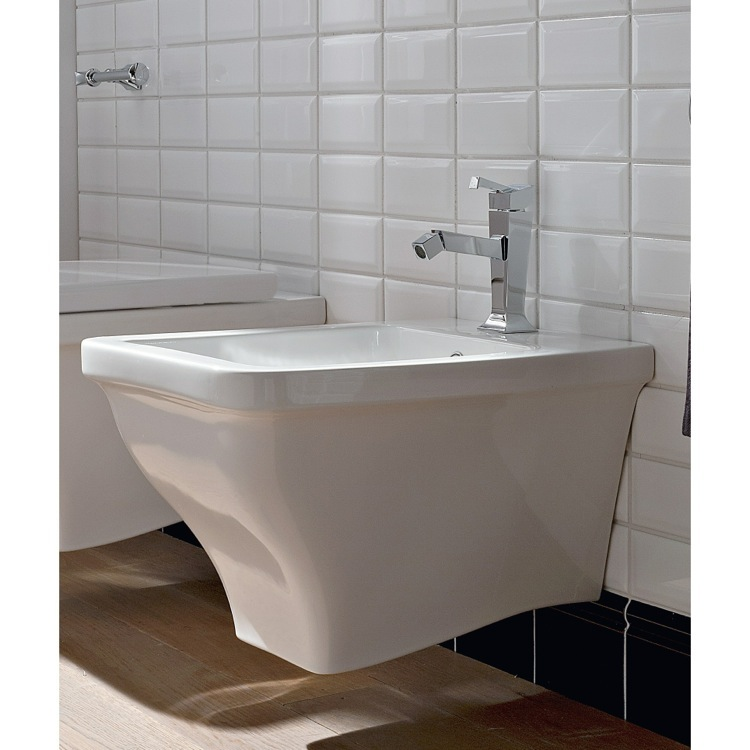 Bidet, Scarabeo 4007, White Ceramic Wall Mounted Round Bidet
