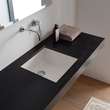 Bathroom Sink, Scarabeo 8089-No Hole, Square White Ceramic Undermount Sink