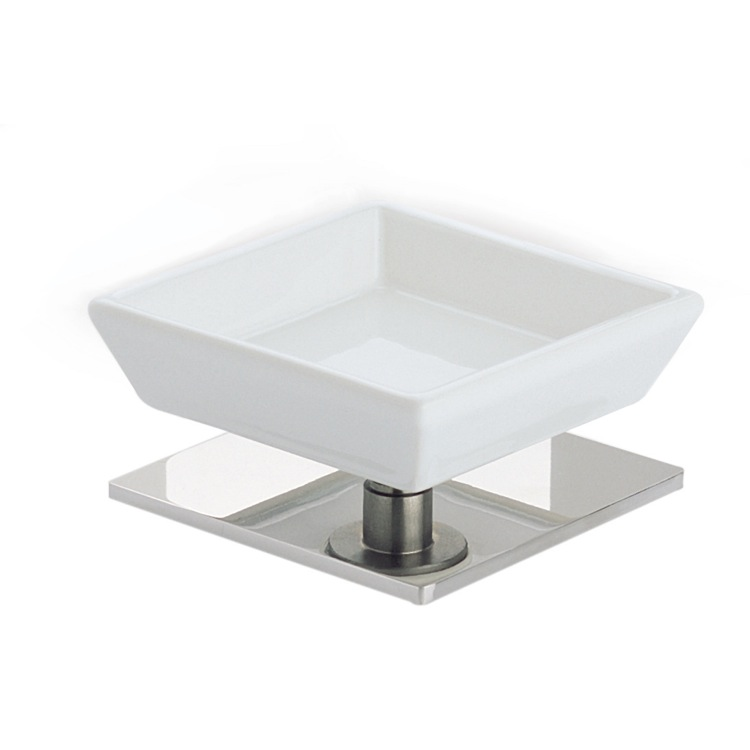 Soap Dish, StilHaus 616-08, Chrome and White Ceramic Soap Holder with Brass Base