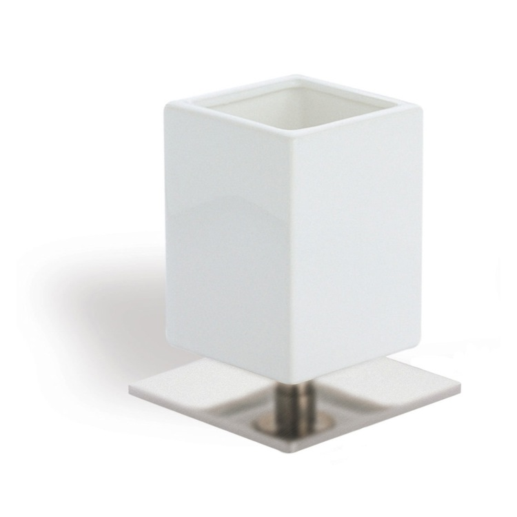 Toothbrush Holder, StilHaus 617-36, White Ceramic Toothbrush Holder with Satin Nickel Brass Base
