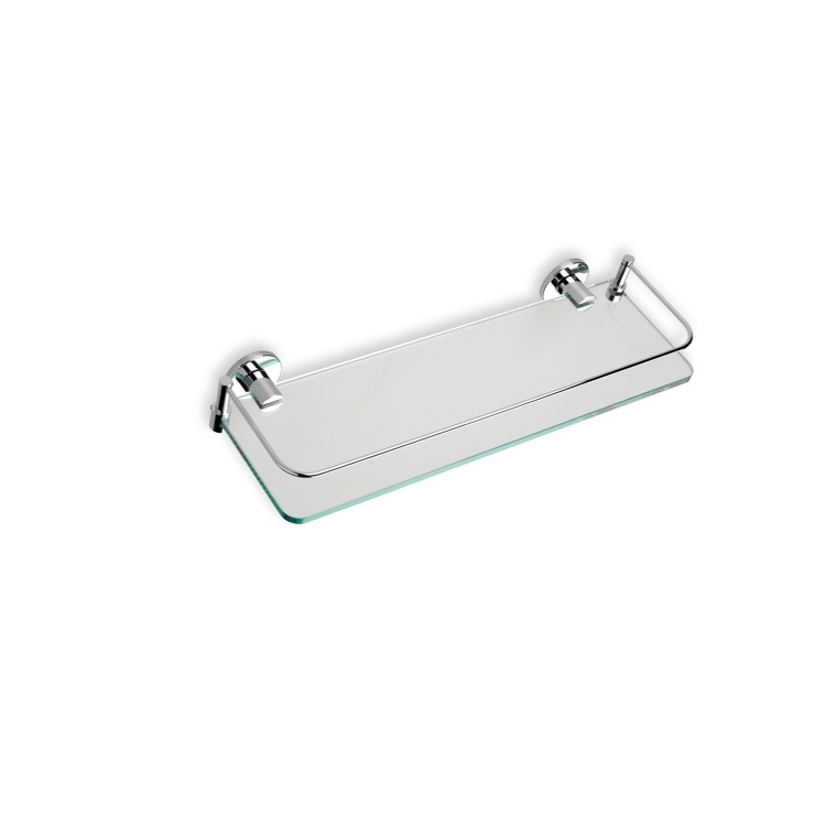 Bathroom Shelf, StilHaus 819-08, Chrome Clear Glass Bathroom Shelf