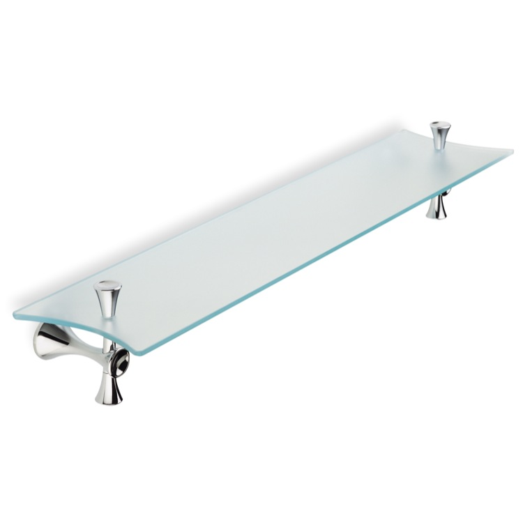 Bathroom Shelf, StilHaus CA04-08, Frosted Glass Bathroom Shelf with Chrome Holders