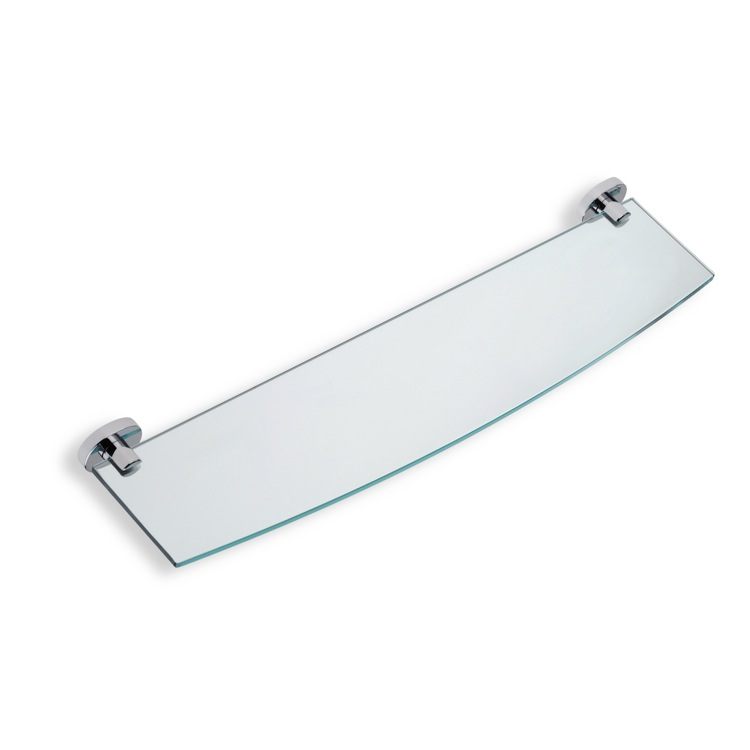 Bathroom Shelf, StilHaus DI04-08, Clear Glass Bathroom Shelf with Chrome Brass Holder
