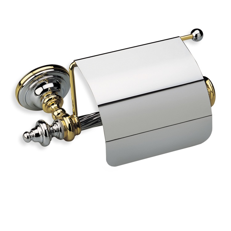 Toilet Paper Holder, StilHaus G11C-08, Classic-Style Brass Toilet Roll Holder with Cover