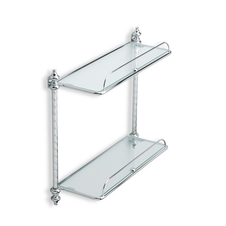 Bathroom Shelf, StilHaus G694-08, Chrome Double Glass Bathroom Shelf
