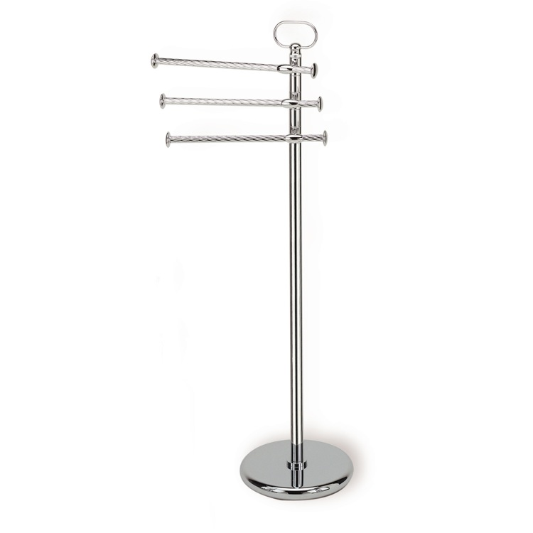 Towel Stand, StilHaus G696-08, Chrome Standing Classic-Style Brass Towel Stand