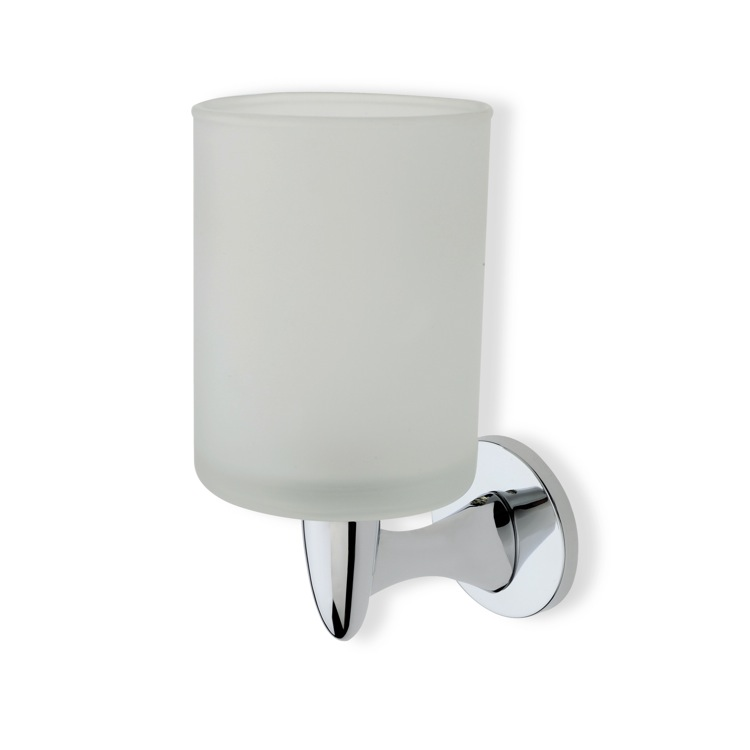 Toothbrush Holder, StilHaus H10-08, Wall Mounted Round Frosted Glass Toothbrush Holder with Brass