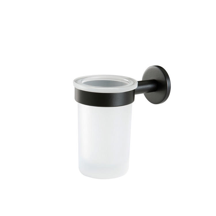 Toothbrush Holder, StilHaus ME10-23, Wall Mounted Frosted Glass Toothbrush Holder with Black Brass