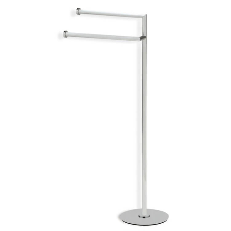 Towel Stand, StilHaus ME19-36, Satin Nickel Free Standing Towel Stand