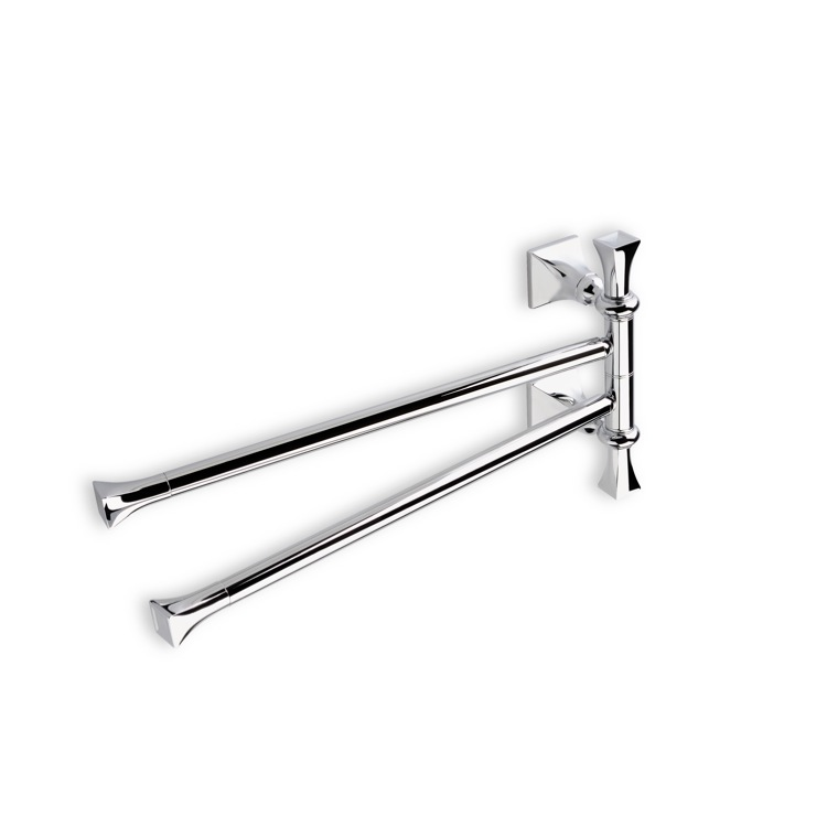 Towel Bar, StilHaus PR16-08, Chrome 17 Inch Classic-Style Swivel Double Towel Bar