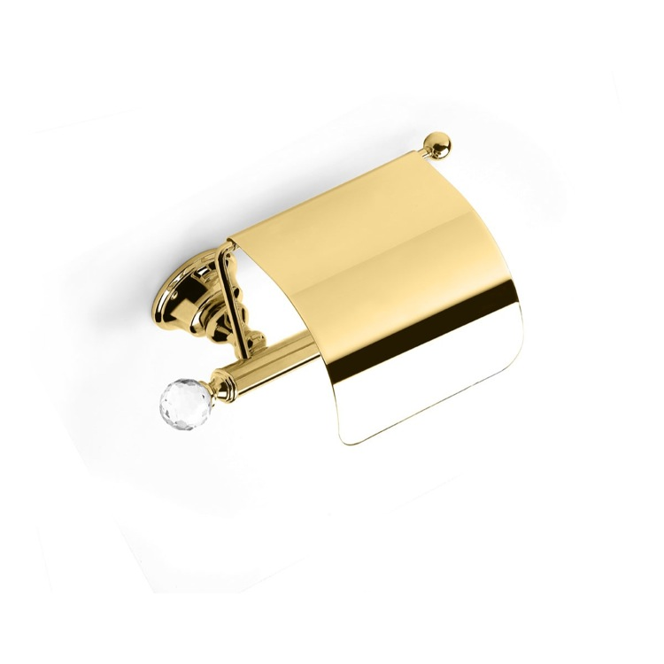 Toilet Paper Holder, StilHaus SL11C-16, Gold Brass Covered Toilet Roll Holder with Crystal