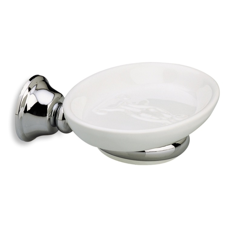 Soap Dish, StilHaus SM09, Wall Mounted Round White Ceramic Soap Dish with Brass Mounting