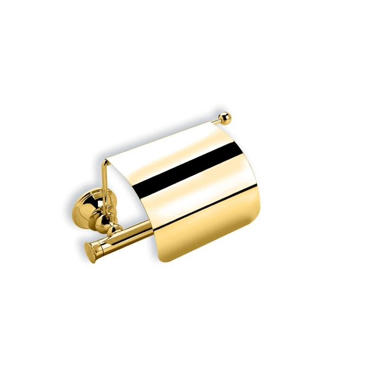 Toilet Paper Holder, StilHaus SM11C-16, Gold Finish Brass Toilet Roll Holder with Cover