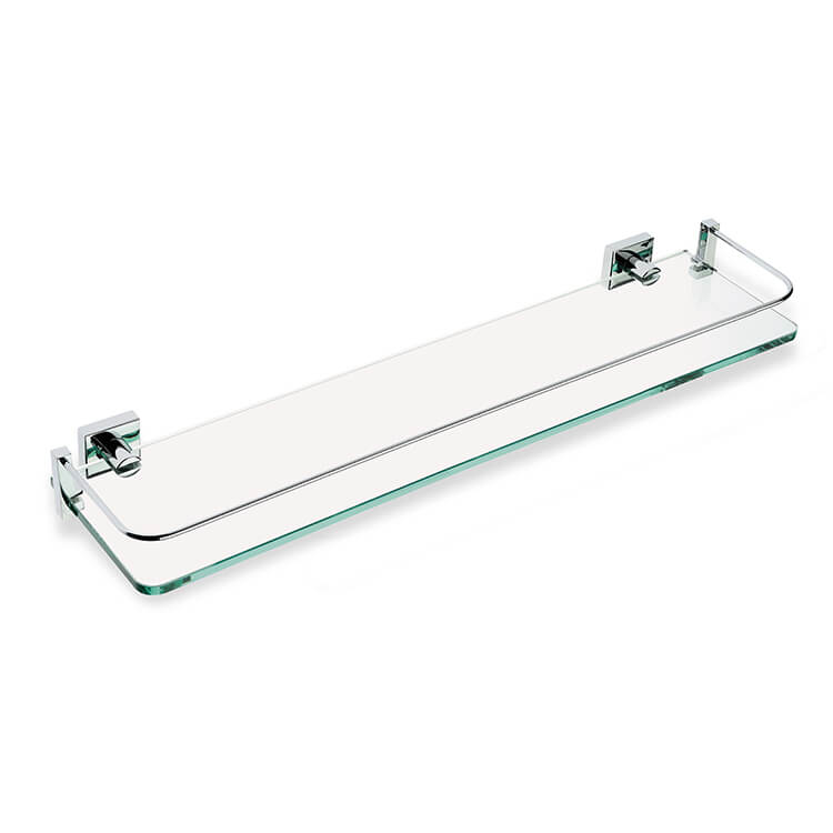 Bathroom Shelf, StilHaus U04-08, Clear Glass Bathroom Shelf with Chrome Brass Holder