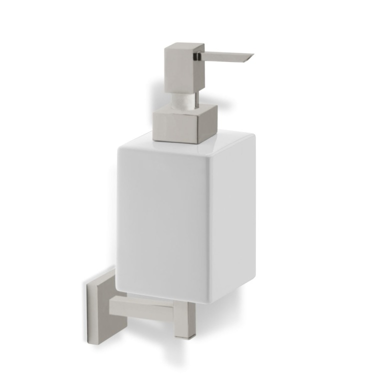 Satin Nickel Wall Mounted Square White Ceramic Soap Dispenser