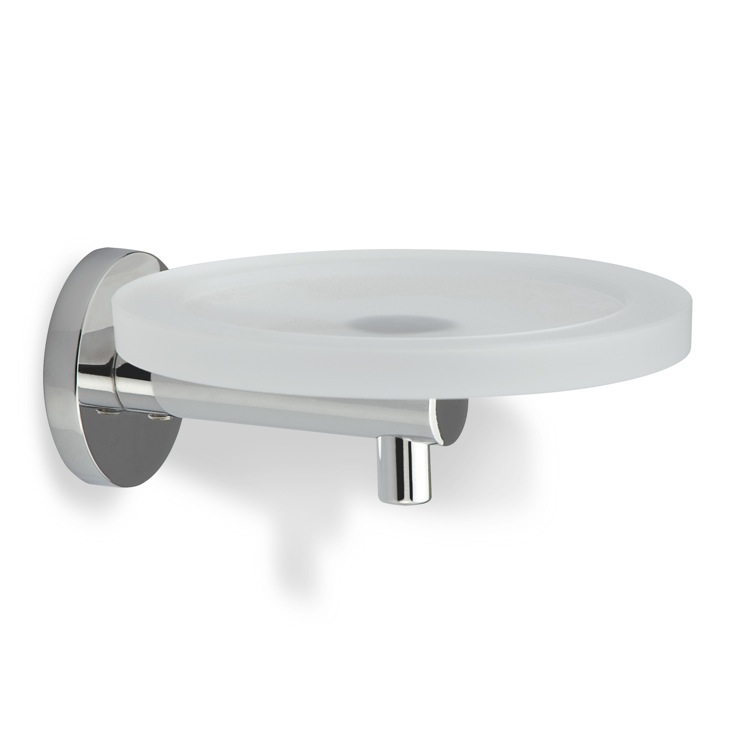 Soap Dish, StilHaus VE09-08, Chrome Wall Mounted Round Frosted Glass Soap Dish with Brass