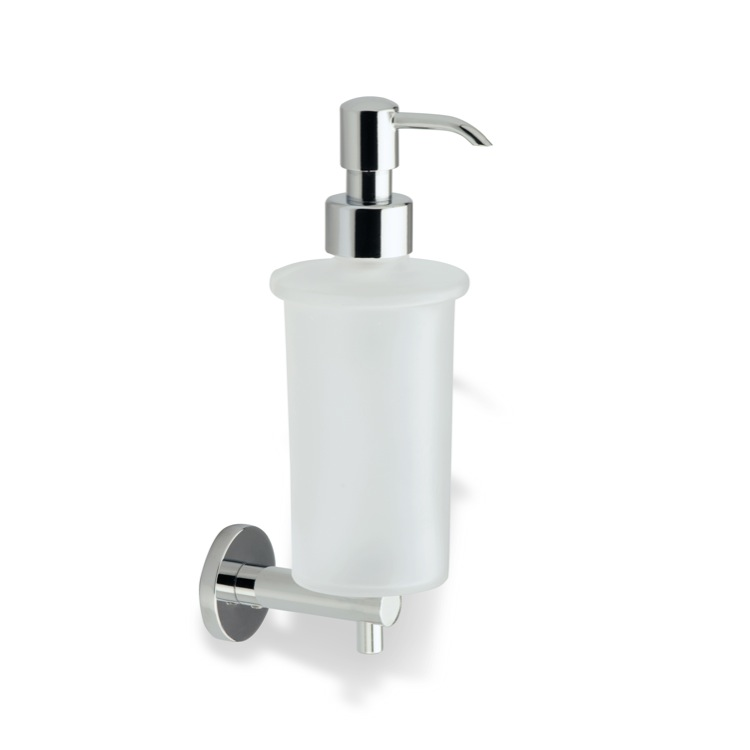 Soap Dispenser, StilHaus VE30-08, Chrome Wall Mounted Frosted Glass Soap Dispenser with Brass Mounting