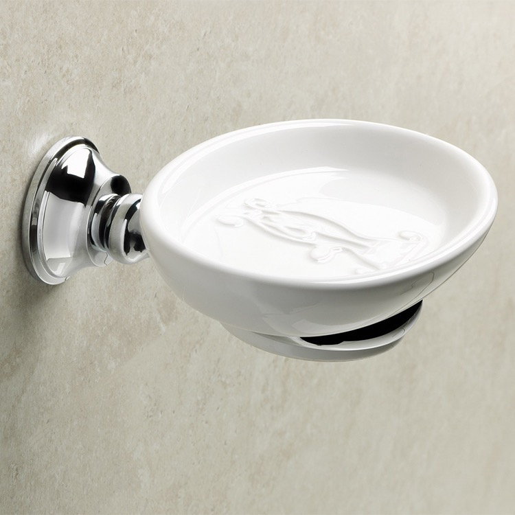 Soap Dish, StilHaus SM09-08, Wall Mounted Round White Ceramic Soap Dish with Chrome Brass Mounting