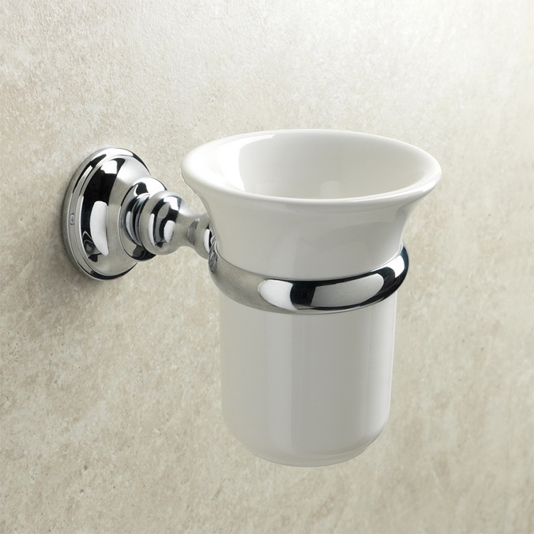 Toothbrush Holder, StilHaus SM10-08, Wall Mounted White Ceramic Toothbrush Holder with Chrome Brass Mounting