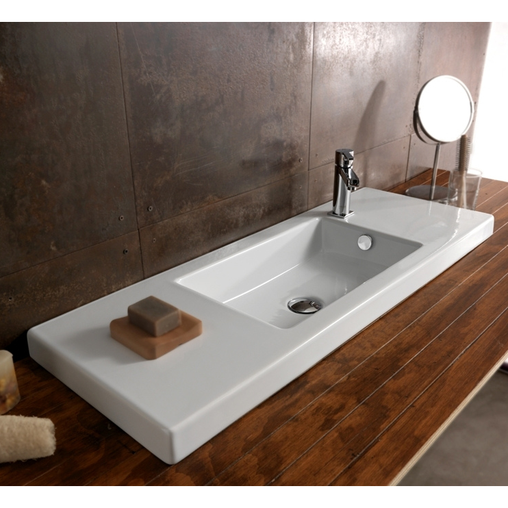 Bathroom Sink, Tecla 3502011-One Hole, Rectangular White Ceramic Wall Mounted or Drop In Sink