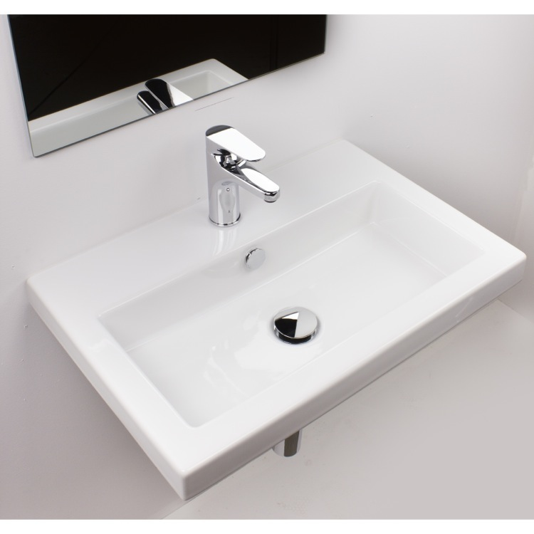 Bathroom Sinks That Mount On The Wall tecla 4001011nameek's serie 40 rectangular white ceramic drop