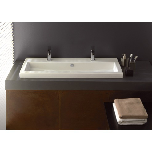 Bathroom Sink, Tecla 4003011B-Two Hole - 18 Inch Spread, Rectangular White Ceramic Drop In or Wall Mounted Bathroom Sink