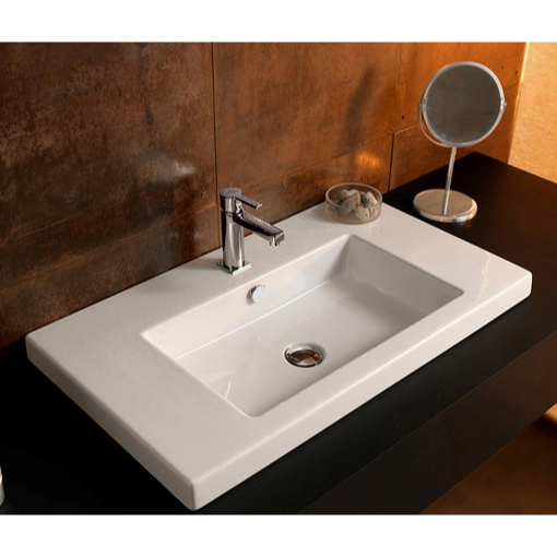 Bathroom Sink, Tecla CAN02011-One Hole, Rectangular White Ceramic Wall Mounted or Drop In Sink