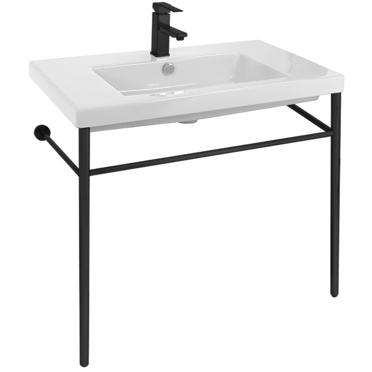 Tecla Can02011 Con Blk By Nameek S Cangas Ceramic Console Sink And Matte Black Stand Thebathoutlet