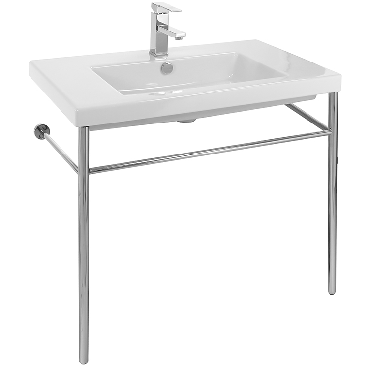 Bathroom Sink, Tecla CAN02011-CON, Rectangular Ceramic Console Sink and Polished Chrome Stand