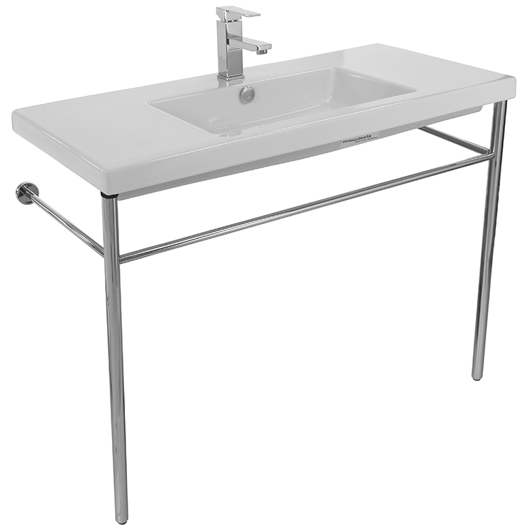 Bathroom Sink, Tecla CAN03011-CON-One Hole, Rectangular Ceramic Console Sink and Polished Chrome Stand