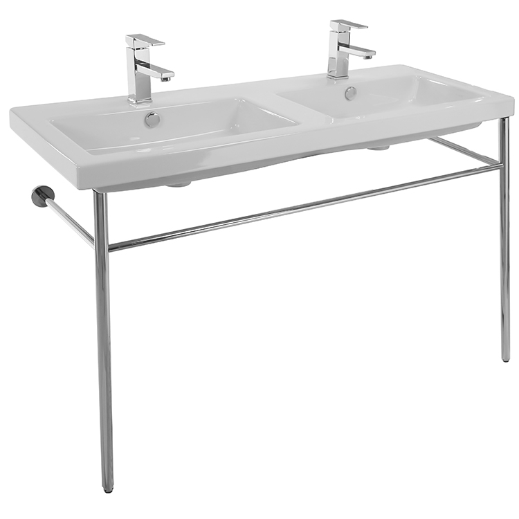 Bathroom Sink, Tecla CAN04011-CON-Two Hole, Double Basin Ceramic Console Sink and Polished Chrome Stand