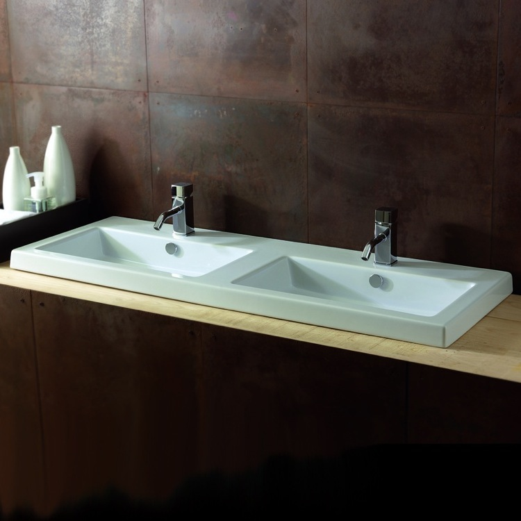 Bathroom Sink, Tecla CAN04011-Two Hole, Rectangular White Double Ceramic Wall Mounted or Drop In Sink