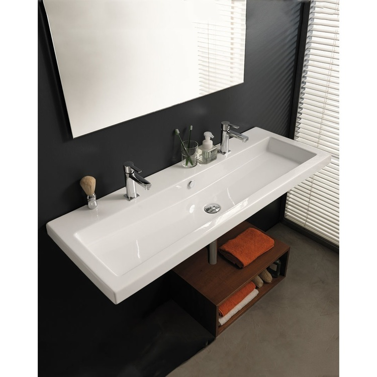 Bathroom Sink, Tecla CAN05011B, Trough Ceramic Wall Mounted Or Drop In Sink
