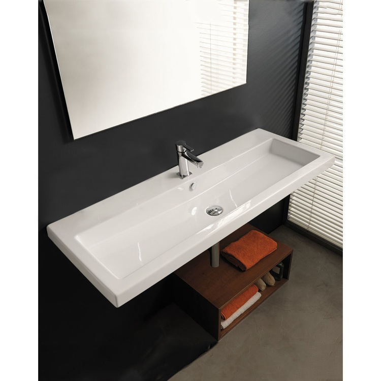 Bathroom Sink, Tecla CAN05011A-One Hole, Rectangular White Ceramic Wall Mounted or Drop In Sink