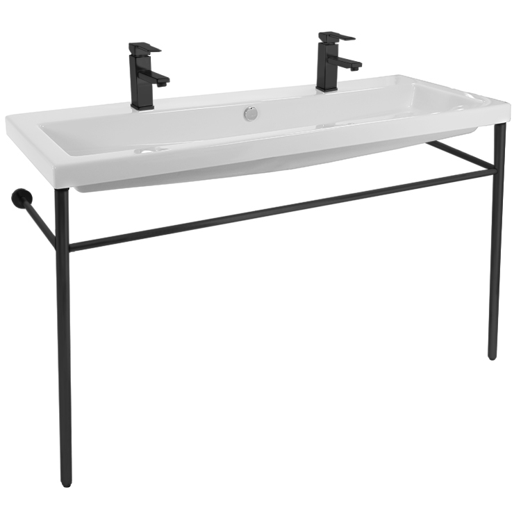Bathroom Sink, Tecla CAN05011B-CON-BLK-Two Hole, Double Ceramic Console Sink and Matte Black Stand