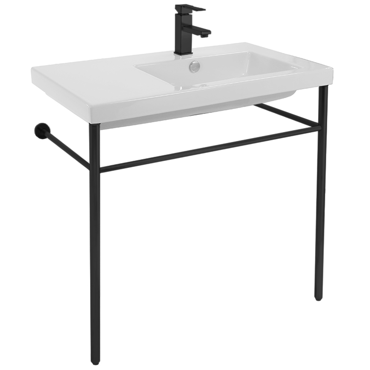 Bathroom Sink, Tecla CO01011-CON-BLK-One Hole, Ceramic Console Sink and Matte Black Stand