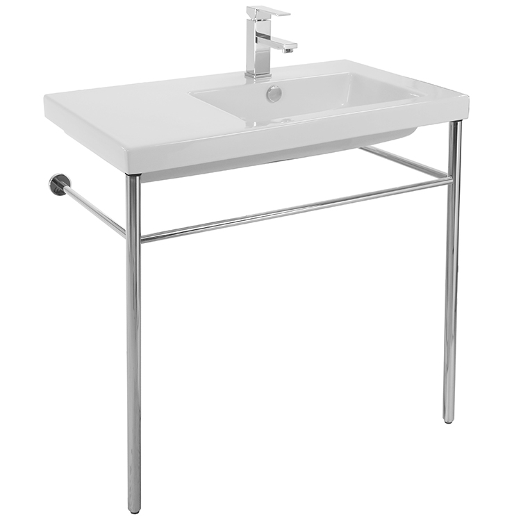 Bathroom Sink, Tecla CO01011-CON-One Hole, Rectangular Ceramic Console Sink and Polished Chrome Stand