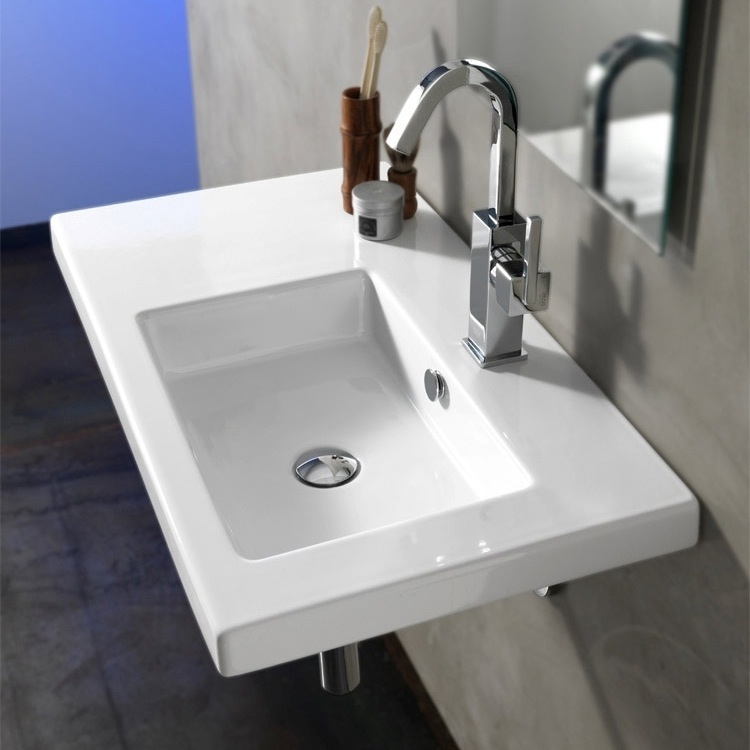Bathroom Sink, Tecla CO01011-One Hole, Rectangular White Ceramic Wall Mounted or Drop In Sink