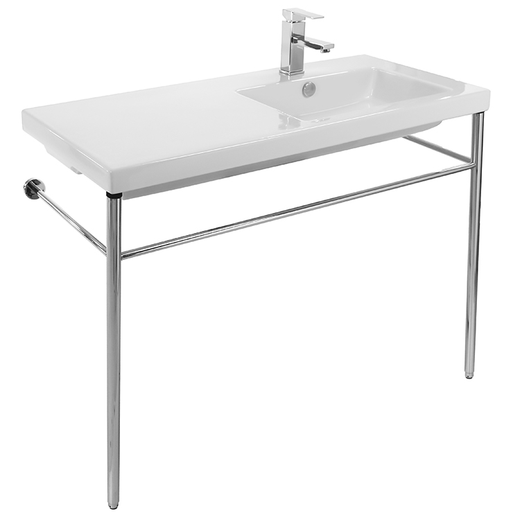 Bathroom Sink, Tecla CO02011-CON-One Hole, Rectangular Ceramic Console Sink and Polished Chrome Stand
