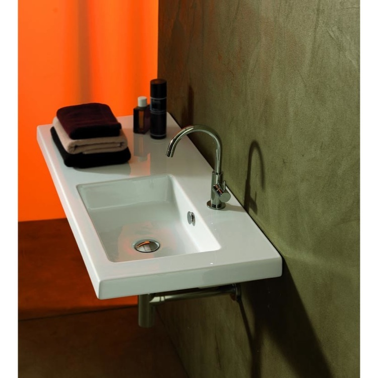 Bathroom Sink, Tecla CO02011-One Hole, Rectangular White Ceramic Wall Mounted or Drop In Sink