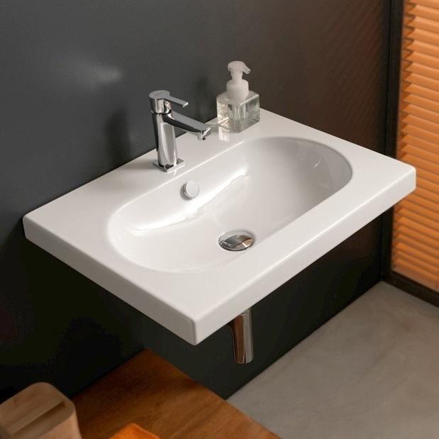 Wall Mounted Rectangular Sink : Rectangular White Ceramic Wall Mounted or Built-In Sink, Tecla EDW1011 ...