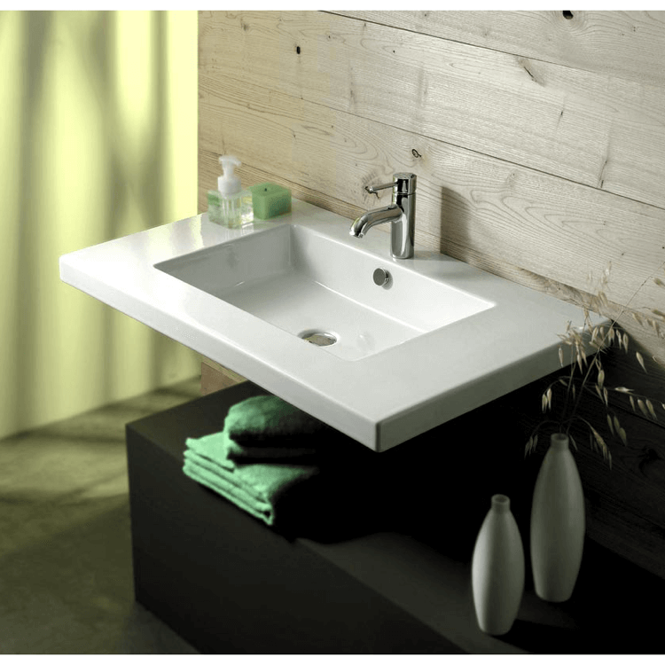 Charmant Bathroom Sink, Tecla MAR02011, Rectangular White Ceramic Wall Mounted Or  Drop In Sink