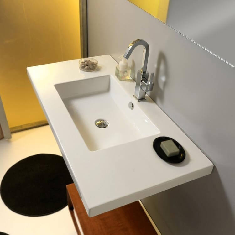 Bathroom Sink, Tecla MAR03011-One Hole, Rectangular White Ceramic Wall Mounted or Drop In Sink