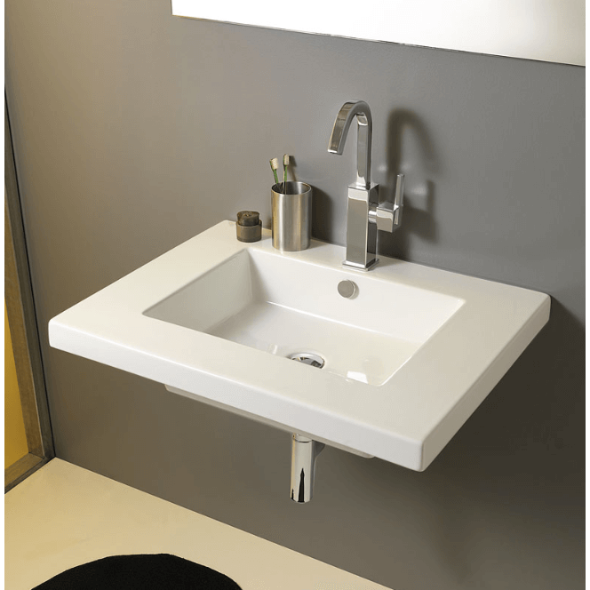 Bathroom Sink Tecla Mar01011 Rectangular White Ceramic Wall Mounted Or Drop In