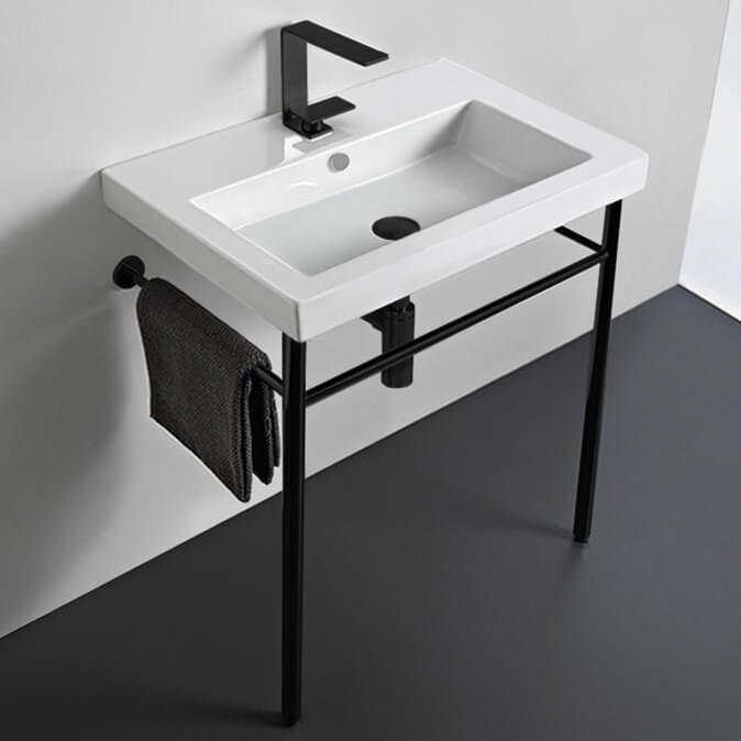 Bathroom Sink, Tecla CAN01011-CON-BLK-One Hole, Ceramic Console Sink and Matte Black Stand