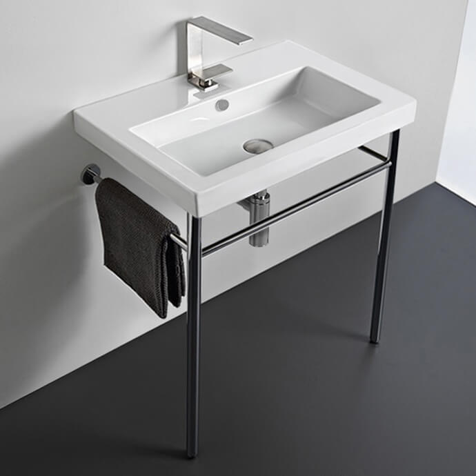 Bathroom Sink, Tecla CAN01011-CON-One Hole, Rectangular Ceramic Console Sink and Polished Chrome Stand