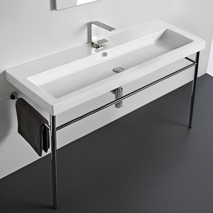 Bathroom Sink, Tecla CAN05011A-CON-One Hole, Large Rectangular Ceramic Console Sink and Polished Chrome Stand